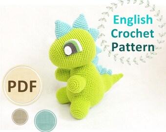 Crochet Pattern - Cute Green Dinosaur PDF Amigurumi pattern, Doll, Crochet Toy, DIY tutorial, Dino crochet, Dinosaur