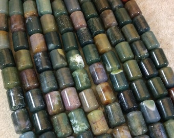 """10mm x 14mm Natural Fancy Jasper Smooth Barrel/Cylinder Shaped Beads with 2mm Holes - 7.75"""" Strand (Approx. 14 Beads) - LARGE HOLE BEADS"""