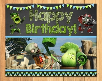 Plants Vs Zombies Happy Birthday Sign Chalkboard * Plants Vs Zombies Sign * PVZ Party Favors * Plants Vs Zombies Birthday Party * Garden