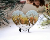 Oil painting of early snow as an art piece,brooch,ornament or magnet