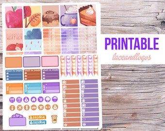 Printable Planner Stickers Watercolor Fall Weekly Kit for Erin Condren MAMBI Happy Planner Glam Planning PDF JPG September November Pretty