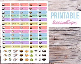 Printable Planner Stickers Kawaii Sushi Night   Happy Planner Glam Planning Cute Sushi Japanese Date Night Food DinnerFor Erin Condren