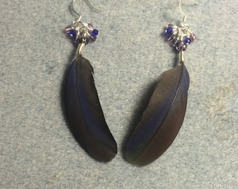 Purple and bronze Pionus parrot feather earrings adorned with tiny dangling purple and blue Czech glass beads.