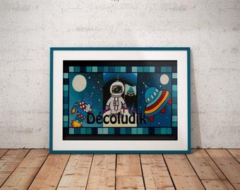 Astronaut print,Astronaut illustration, space print, 8X11