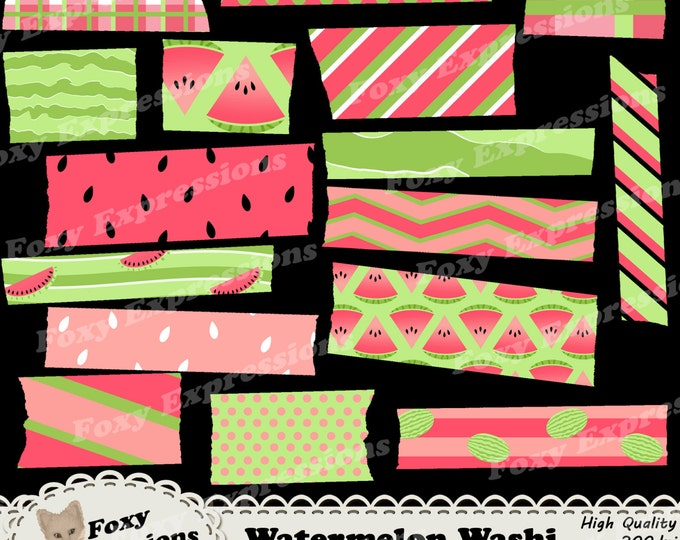 Watermelon Digital Washi Tape in shades of green and pink with stripes, polka dots, plaid, chevron, seed polka dots, watermelon green waves