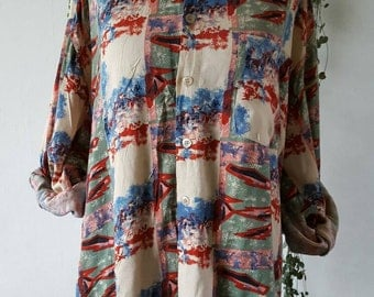 Oversized blouse all-over print, vintage. Festivalproof