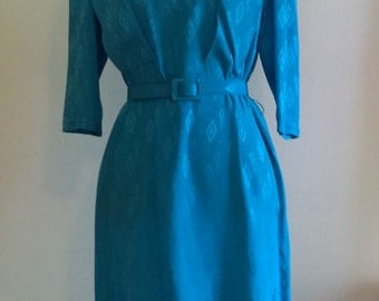 Vintage Saks Fifth Avenue Turquoise Silk Dress.