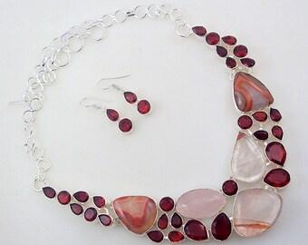 Rose Quartz-Agate-Garnet Stone .925 Silver handmade Necklace Jewelery (Jh-82)