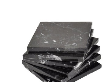 Black Marble Coaster Set of 6