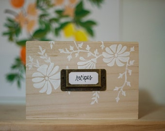 Painted Recipe Box 4x6 // Floral Recipe Box // Wood Recipe Box // Kitchen // Hand Painted // Shower Gift // Custom Gift