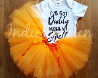 Baby girls Halloween Daddy Spell tutu fancy dress costume babysuit birthday glitter orange personalised one set photo prop cake smash
