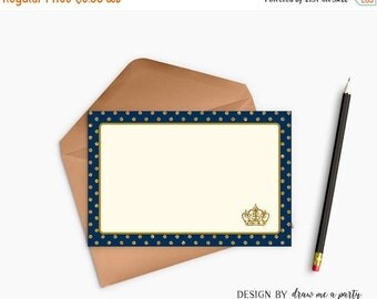 ON SALE Prince Thank You Notes , Navy Blue and Gold Thank You Cards , Prince Notes , Prince Birthday Party , Printable , Instant Download