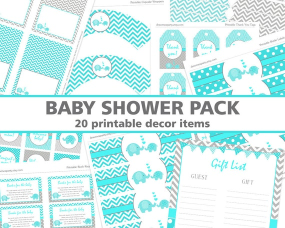 elephant teal baby shower decorations diaper raffle book request