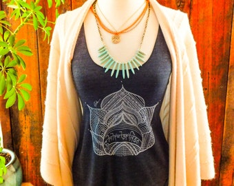 Lotus yoga tank top-racer back style- with the sanskrit words honor your light in the center