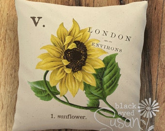 "Sunflower Botanical Pillow Cover II | 100% Cotton Canvas | 12"" x 12"", 16"" x 16"", 20"" x 20"" 