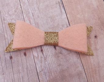 40+ Colors - Gold Glitter Felt Hair Bow Clip / Felt Glitter Bow / Glitter Felt Bow / Glitter Bow Clip / Felt Glitter Hair Clip / Glitter Bow