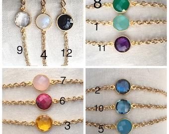 Dainty Gemstone Birthstone Bracelets, Minimalist Bracelets, Gemstone Bracelets, Gold Chain Bracelets, Gem Bezel Bracelets, Gemstone Bracelet