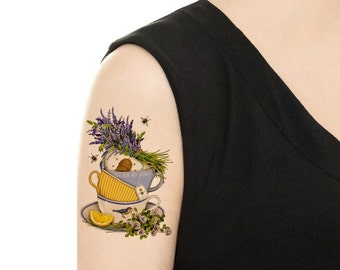Temporary Tattoo -  Lavender Teacups and Saucers - Various Sizes