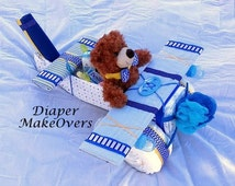 Airplane Diaper Cake - Blue and Yellow - Unique Diaper Cake - Baby Shower Gift or Centerpiece - Baby Boy, Baby Girl, Gender Neutral