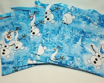 Frozen / Olaf Fabric Treat Bags / Goody Bags / Party Favor Bags / Small Drawstring Bags