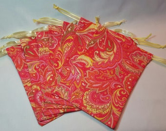 Pink & Yellow Paisley Cotton Fabric Drawstring Bags/ Party Favor Bags/\ Goody Bags