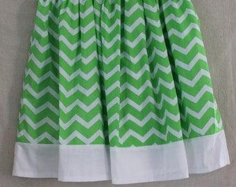 Green Chevron Skirt