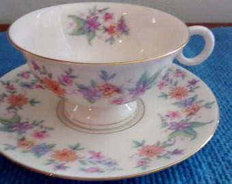 Set of Six Cups and Saucers Fine China by Theodore Haviland Springtime Pattern