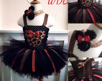 Leopard Minnie Mouse inspired tutu dress