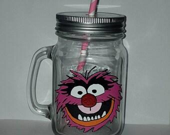 Hand painted Animal drinking jar.