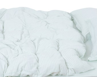 Aqua Duvet Cover Set Striped Duvet Cover in Twin and Queen Egyptian Cotton Bedding