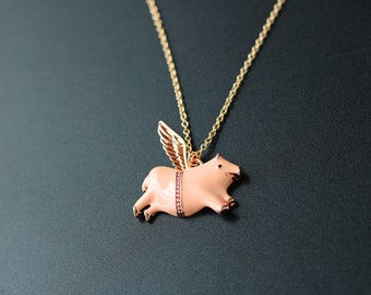 angel pig necklace,pig with wings statement necklace,animal necklace,when pigs fly necklace
