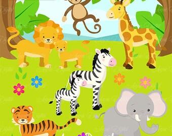 Cute Safari Clipart Scrapbook printables, baby animals clip art set for Commercial Use. Tiger, lion giraffe, elephant, monkey