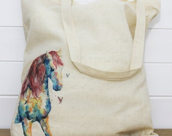 Watercolour Horse Print Cotton Tote Bag