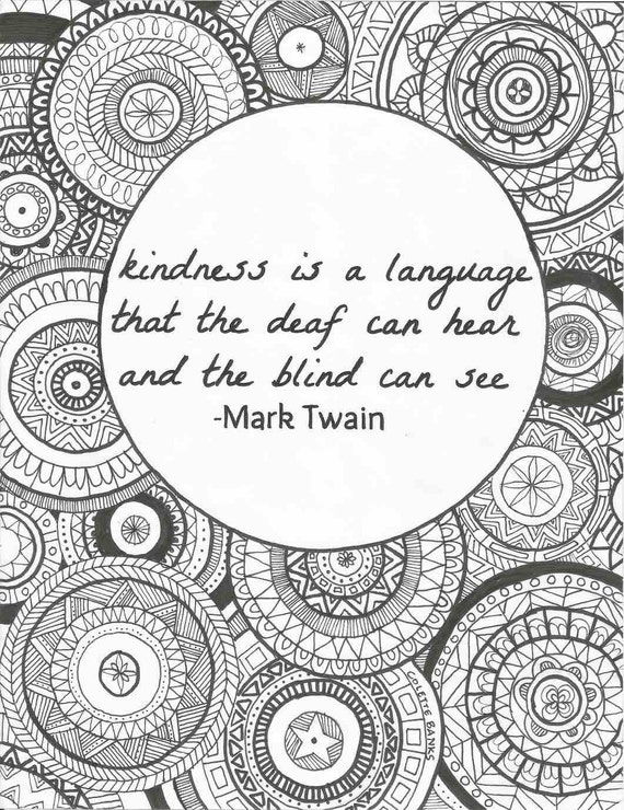 Quote Adult Coloring Page Kindness
