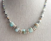 "Beaded necklace - Light marbled blue, brown and silver, 16"" - 17.5"" (40.5 - 44.5 cm)"