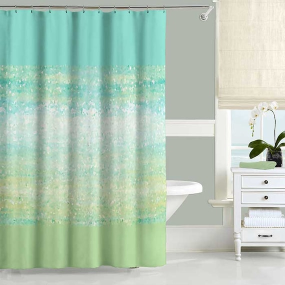 Mint Green And White Shower Curtain Curtain Menzilperde Net