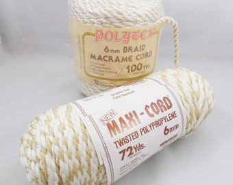 Macrame' Cord 6mm, 1 Maxi Cord 6mm Twisted Cord and 1 Polytex Braided Cord, 2 Skeins, Golden Tans and Off White Variegated