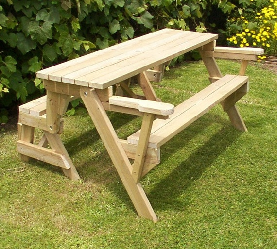 piece folding picnic table - woodworking plans