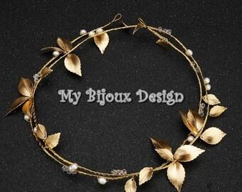 Gold Wedding Head Vine, Leaf Bridal Hair Clips,  Pearl Crystal Wedding Hair Accessories, Gold Wedding Hair Piece, Bridal Hair Vine,