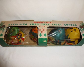 Christmas Light Covers Vintage Whirl-Glo 4 shades in box