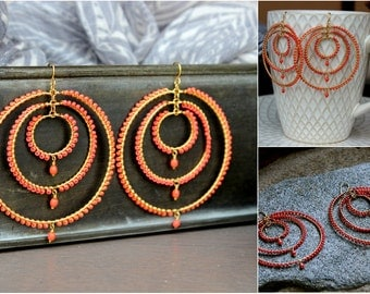 Cristiana Orange Coral Hoop Earrings