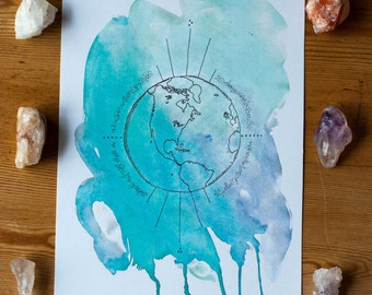 Planet Earth Watercolor Pen and Ink Print