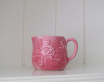 Vintage pink glaze,Royal Art Pottery, Lonton T, Tom Tom the Pipers son milk Jug