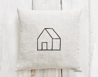 Linen Home Pillow—12x12 blockprinted home image in black ink on natural linen, with down insert