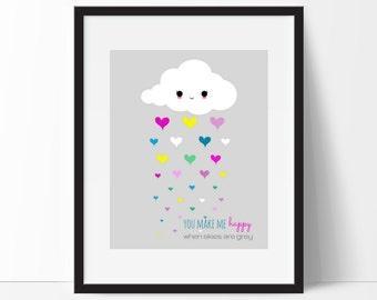 Cloud Print, Rain Cloud Print, Cloud Printable, Modern Nursery Print, Kawaii Cloud Print, Girls Nursery Print, Instant Download
