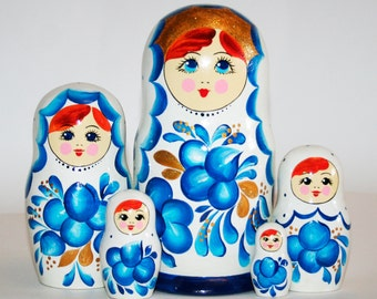 Nesting dolls Gzhel white and blue. Russian matryoshka doll