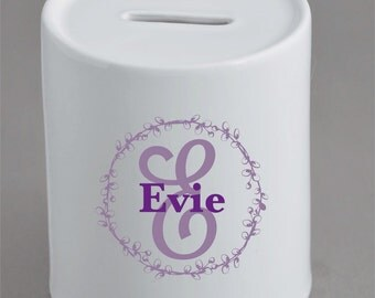 Personalised Money Box, Piggy Bank. Children, Name, Initial available in any colour