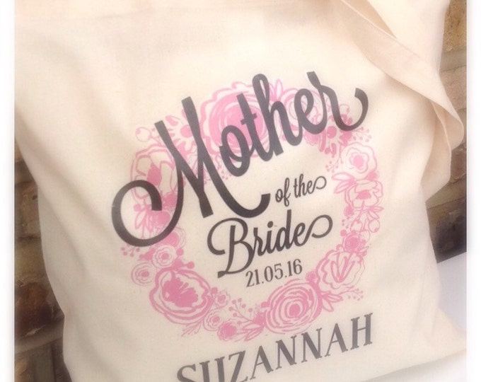 Personalised shopper bridal party tote bag. Hen do | Bride to be | Flower girl Bridesmaid | Maid of honour | Mother.  Comes in any colour.