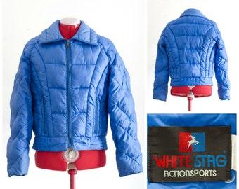 1980s blue puffy insulated ski coat