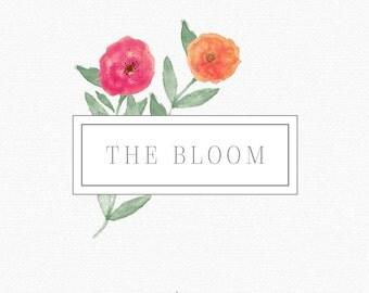 PREMADE LOGO. Watercolor Flowers. Watercolor Logo. Photography Logo. Blog Header. Boutique Logo. Company Logo Design. Custom Logo. Branding.